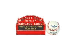 Product Shot of Wrigley Field Swag And Rawlings Baseball