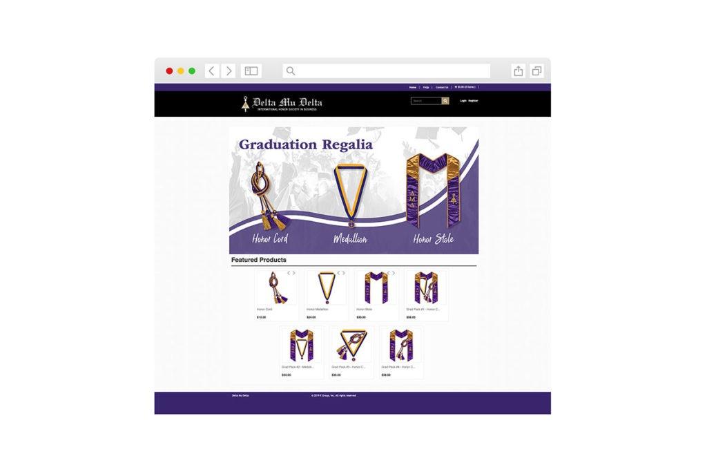 Screenshot of homepage Graduation Regalia Delta Mu Delta