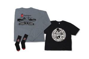 Shirt, Sweater, and Socks Branded for MurLarkey Distilled Spirits