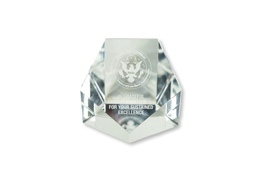 Product Shot of a NASA Crystal Award